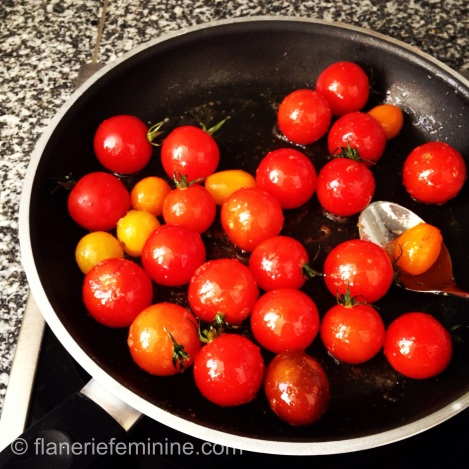 Cherry tomatoes in a pan